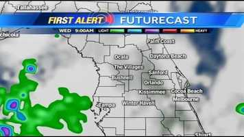 See an hour-by-hour look at rain expected in Central Florida on Wednesday.