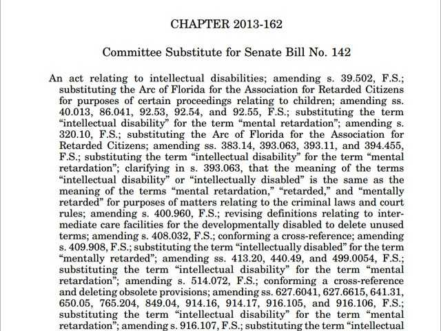 "CHAPTER 2013-162: The term ""intellectual disability"" or ""intellectually disabled"" is to be substituted for the terms ""mental retardation,"" ""retarded,"" and ""mentally retarded"" in matters relating to criminal laws and court rules."