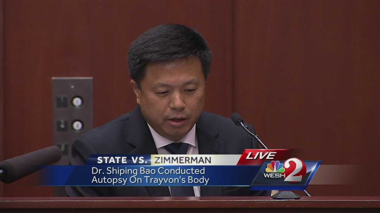 Trayvon Martin was not killed instantly from a gunshot wound to the heart, according to the medical examiner. Dr. Shiping Bao said he was in pain and suffered.