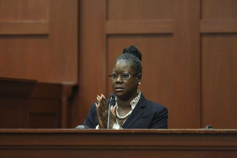Trayvon Martin's mother, Sybrina Fulton, takes the stand during George Zimmerman's trial in Seminole circuit court in Sanford, Fla. Friday, July 5, 2013. Zimmerman has been charged with second-degree murder for the 2012 shooting death of Trayvon Martin. (Gary W. Green/Orlando Sentinel)