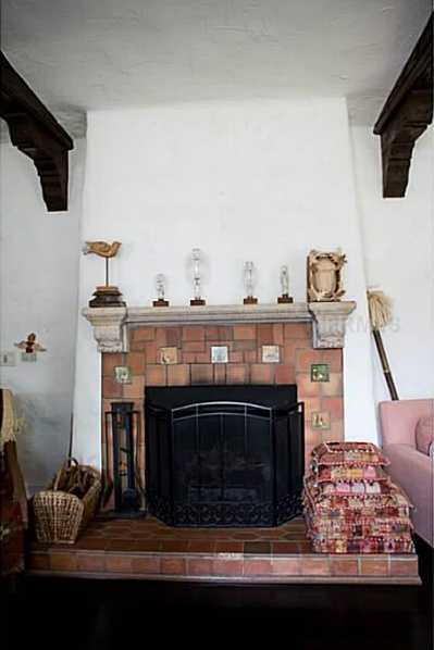 Close-up view of the original fireplace.