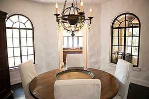 Panoramic views in the rustic dining room.