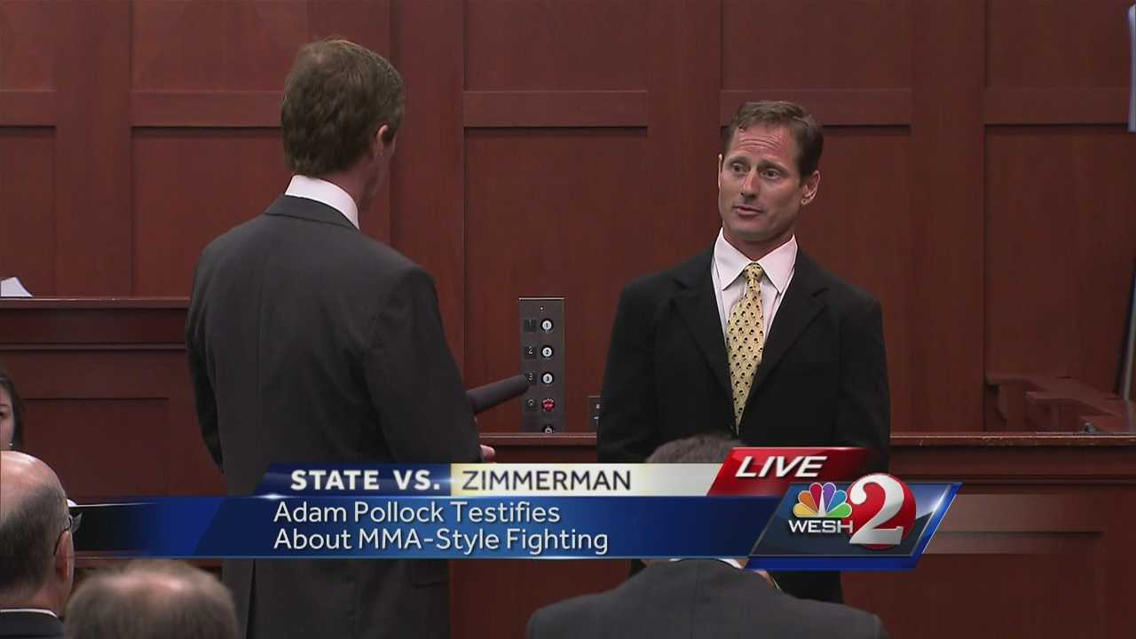 George Zimmerman's defense attorney Mark O'Mara asked a mixed martial arts trainer to mount him in court to demonstrate how the person on top has an advantage in a fight.
