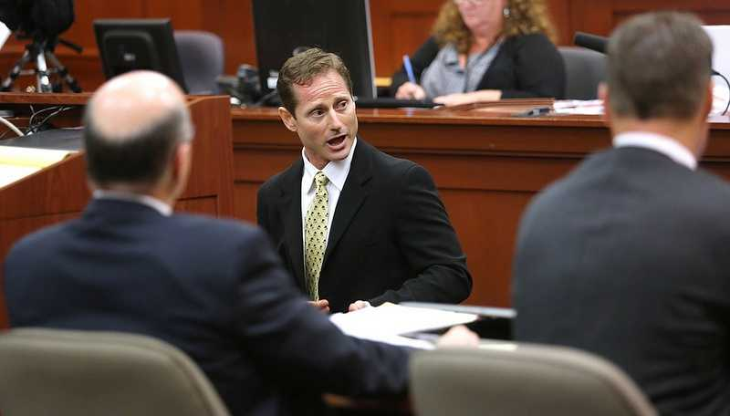 "6. Defense attorney Mark O'Mara gets mountedIn another ""show and tell"" testimony, defense attorney Mark O'Mara asked Pollock to mount him in front of the jury to show the advantages a fighter would have by being on top."