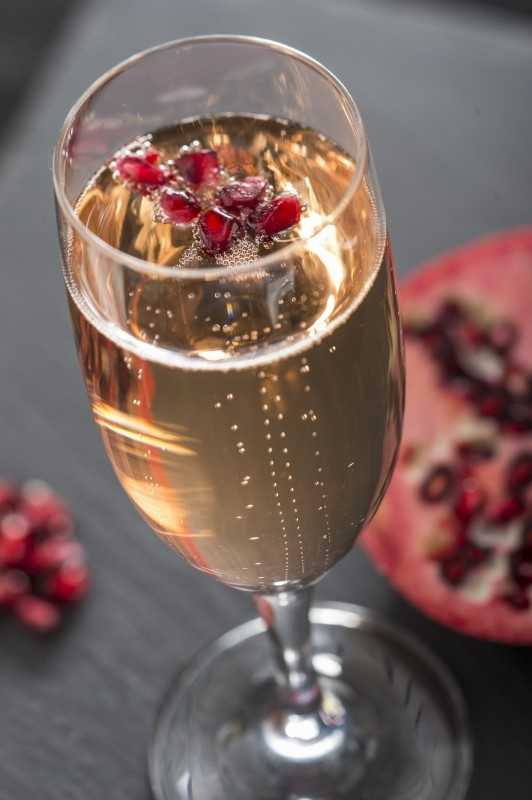 Adults can try the new sparkling pomegranate cocktail made with sparkling wine and pomegranate liqueur at the France Marketplace.
