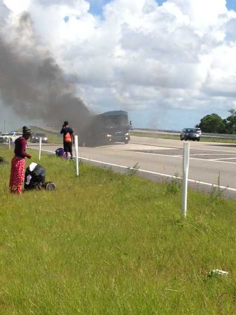 A Greyhound bus fire has shut down an exit ramp of Interstate 95 in Brevard County.