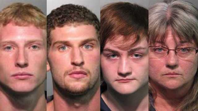 Brett Megit (left), Jacob Danio, Domenick Barreca and Bobbe Barreca face drug charges in Seminole County.