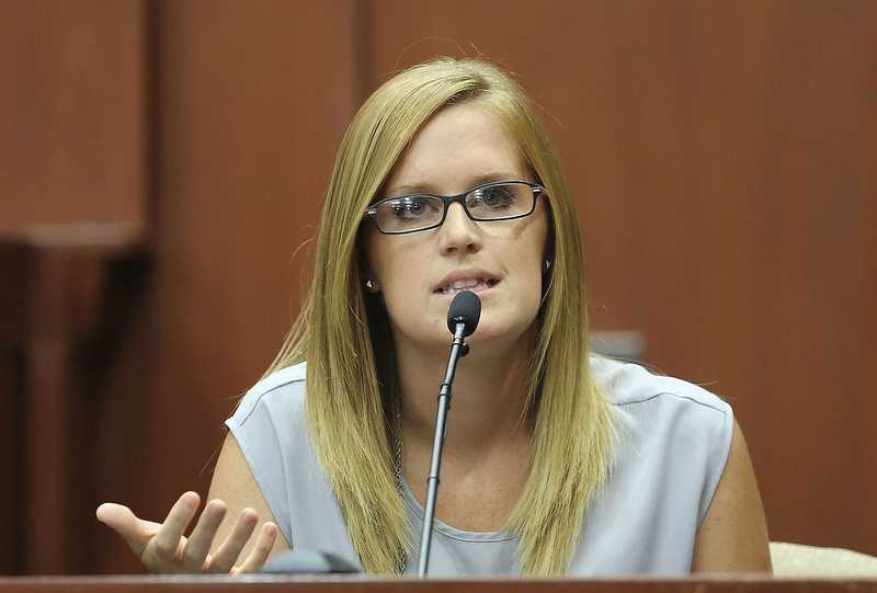 Olivia Bertalan takes the stand for the defense during George Zimmerman's trial in Seminole circuit court in Sanford, Fla. Wednesday, July 10, 2013. Zimmerman has been charged with second-degree murder for the 2012 shooting death of Trayvon Martin. (Gary W. Green/Orlando Sentinel)