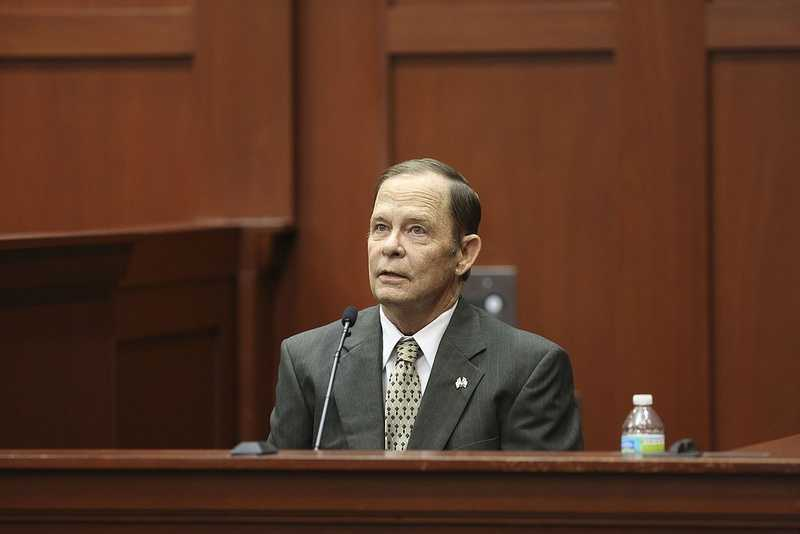 Robert Zimmerman Sr. takes the stand for the defense during George Zimmerman's trial in Seminole circuit court in Sanford, Fla. Wednesday, July 10, 2013. Zimmerman has been charged with second-degree murder for the 2012 shooting death of Trayvon Martin. (Gary W. Green/Orlando Sentinel)