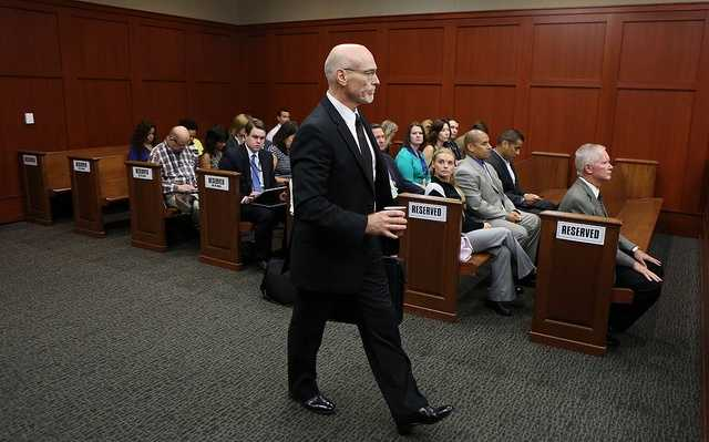 Defense counsel Don West arrives for George Zimmerman's trial in Seminole circuit court in Sanford, Fla. Thursday, July 11, 2013. Zimmerman has been charged with second-degree murder for the 2012 shooting death of Trayvon Martin. (Gary W. Green/Orlando Sentinel)
