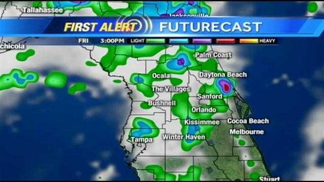 See an hour-by-hour look at rain and storms expected in Central Florida on Friday afternoon.
