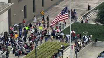 A rally is held to support Trayvon Martin at the Federal Courthouse in Orlando.