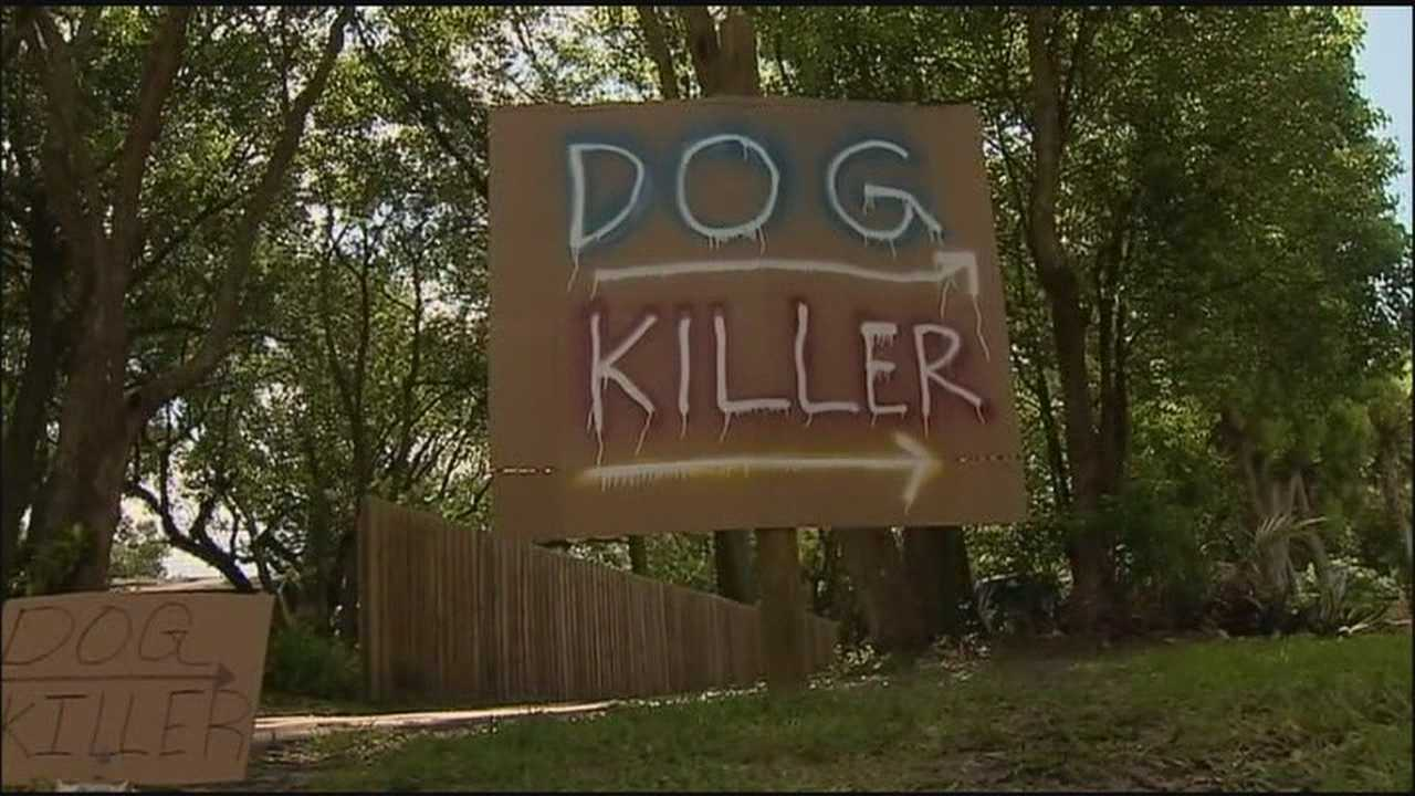 A man's dog was shot by his off-duty deputy neighbor and now he's taken to posting signs all over his property.