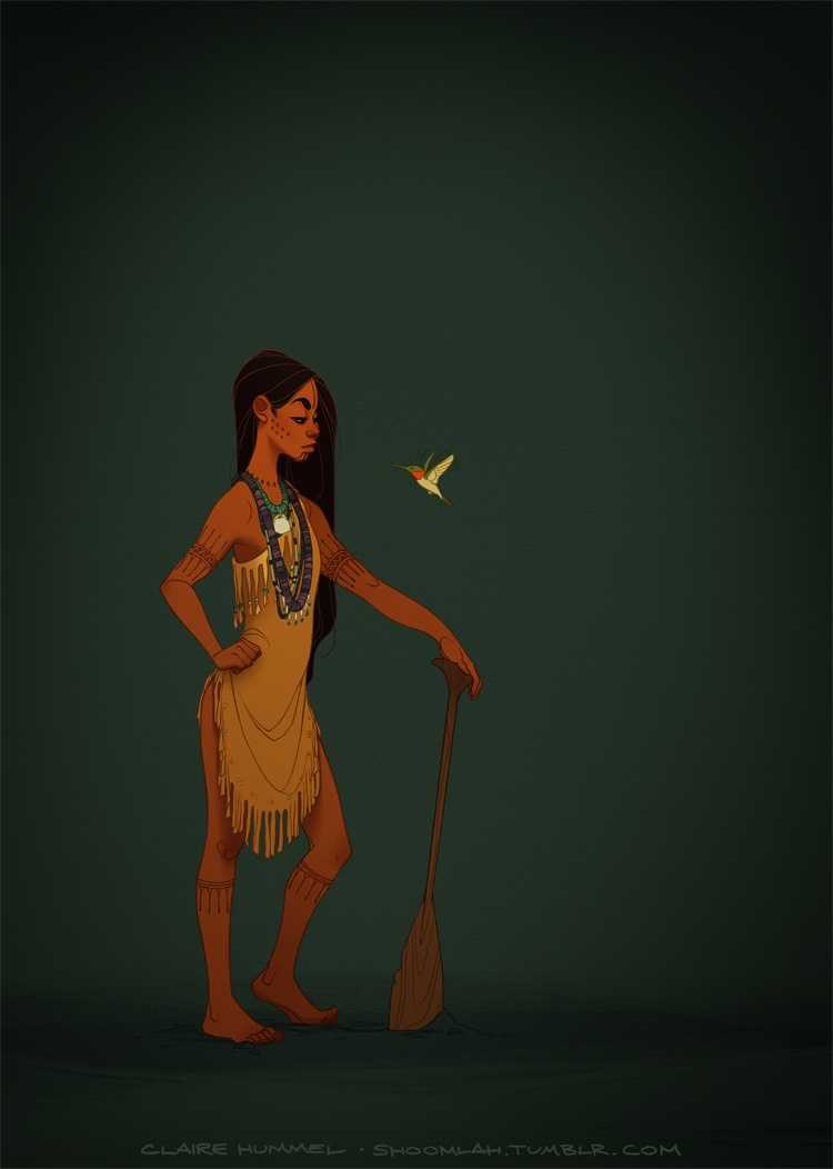 """8. Pocahontas""""Finally updated Pocahontas! I don't think this is what people were expecting as the next entry in the series, but some of the criticisms ofmy first designhave been eating away at me for years now and I needed to get off my ass and address them.So hey! Spunky age-appropriate Pocahontas/Matoaka, sans feathers in the hair/European imagery/other superfluous details. This is closer to accounts and illustrations of Powhatan dress from the period, and I kinda think it's closer to the Disney design anyway. WIN/WIN."""""""