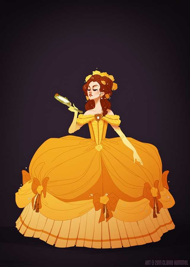 """Artist Claire Hummel drew these stunning portraits of Disney characters in historically accurate outfits. See more about her and the other characters she's done, and get some of your frequently asked questions answered.1. Belle""""I can't explain it, but reinterpreting Disney princess outfits through a more historically accurate lens really,reallyappeals to me. Beauty and the Beast has always hovered hesitantly in the late 18th century (especially in the earlier concept art), so I redid Belle's gold dress to match 1770's French court fashion.- Claire, who knows above-the-elbow gloves weren't really in fashion until the early 1800's but is running with it anyway."""""""