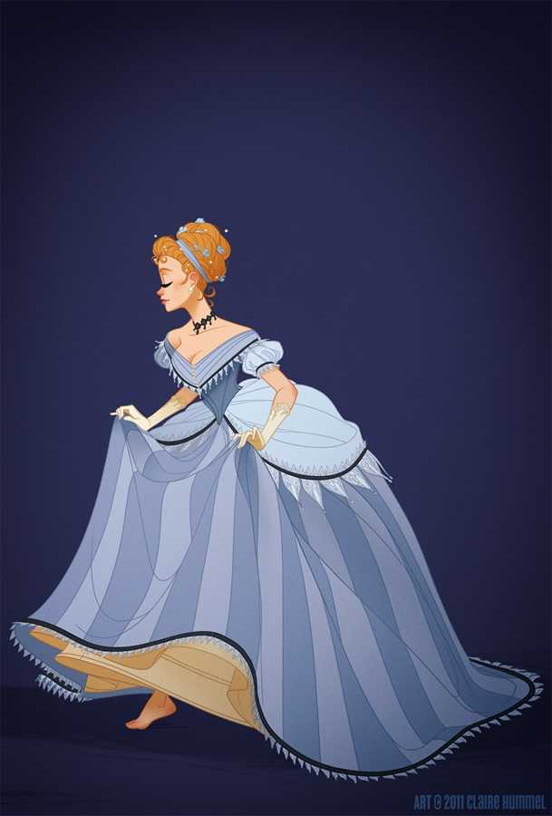 """5. Cinderella""""I went with the mid 1860's for Cinderella's dress, the transitory period where the cage crinoline takes on a more elliptical shape and moves towards the back. Not that it accounts for Lady Tremaine's sweet 1890's getup, but it's also not unheard of to see it worn alongside Anastasia and Drizella's early bustle dresses. It's also worth noting that it was made by a fairy godmother, so it make sense that her tastes would be a littlebehind the times.Not to mention background characters, who seem pretty firmly planted in the middle of the century:[link]I couldn't settle on a visual motif for the details in this one- shoes, pumpkins, mice- so I just gave her some stripes and gothic lace to make up for it. OH ALSO I drew her losing her right shoe instead of her left and only recently realized it.Whoops."""""""