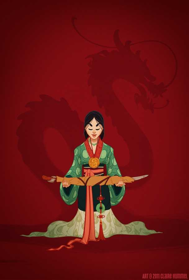 """6. Mulan""""Sooooo Mulan. It's not that I didn'twantto do Mulan (she's fantastic so far as the Disney """"princesses"""" go), but pinning down her time period stopped being fun and rapidly became a headache- you have the original legend taking place in the Wei Dynasty, the Huns as an actual threat during the Western Han Dynasty, the Forbidden City of the Ming Dynasty, the hanfu fashion setting it earlier AGHGHGhjffjhfghgjhkhOn that note, I'll be the first to admit that this piece isn't tying Mulan down to a particularperiod, rather putting her in plausible historical textiles and hanfu. When I was asking around for references most of the stuff sent my way were from Chinese period films or other modern recreations, so I just threw up my hands and decided to have fun with it.It's based on Mulan's finale/epilogue costume at the end of the film&#x3B; she never seemed at home in either the matchmaker costume or the armor, so this seemed like the best """"Mulan has come into her own"""" middle ground."""""""