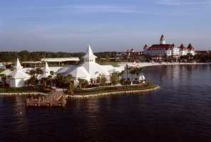 The pavilion is situated near Disney's Grand Floridian Resort and Spa and along the water of the Seven Seas Lagoon.