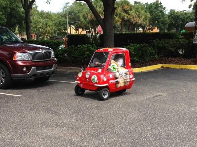 McDaniel got to drive it in the parking lot.
