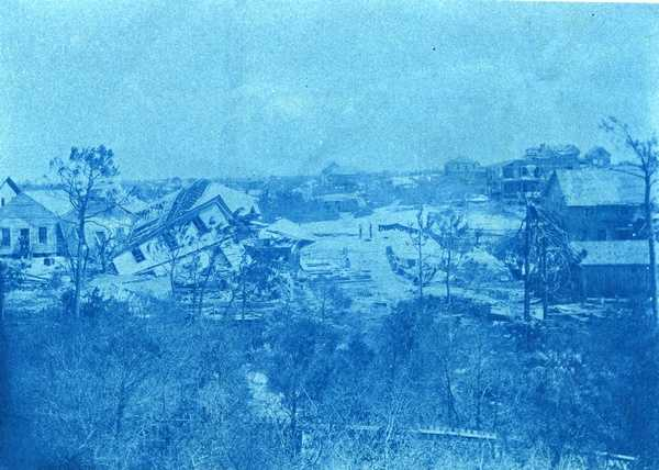 1899: Several homes damaged by a hurricane in Carrabelle.