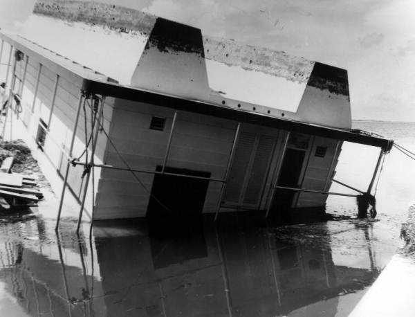 1960: Hurricane Donna did massive damage to The Keys, including turning over this house boat.  The name Donna was retired.