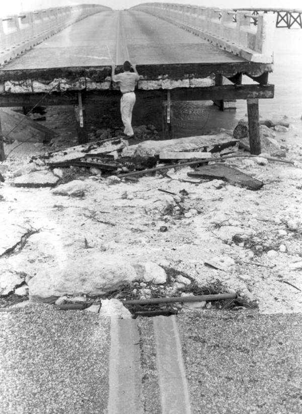 1960: Hurricane Donna washed away part of a bridge in The Keys.