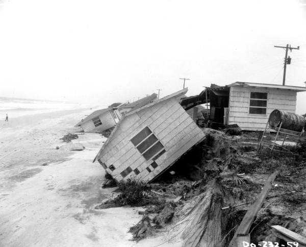 1964: Hurricane Dora sends homes into the ocean in Jacksonville.  The name was retired.