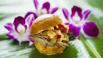 Favorite #4: Kalua Pork Slider with Sweet and Sour Dole Pineapple Chutney and Spicy Mayonnaise, Hawaii MarketplaceThis slider has been a hit ever since the Hawaii Marketplace hit World Showcase a few years ago. Just to be clear, Kalua here refers to a method of barbecue cooking, not the coffee liqeur Kahlua. Served on a slightly sweet brioche roll, the shredded pork gets coupled with a sweet and sour chutney and a mayo that's got a slight kick. All the flavors really work well together.