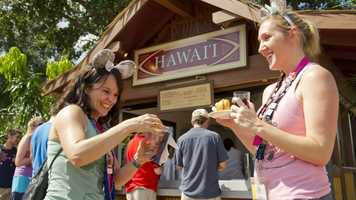 While the annual foodie festival offers dozens of seminars, special events and demonstrations, it's often the dozens of Marketplaces scattered around World Showcase that get the most attention. Each booth is themed to a country or region's cuisine, and offers a selection of beverages and tapas-sized snacks.