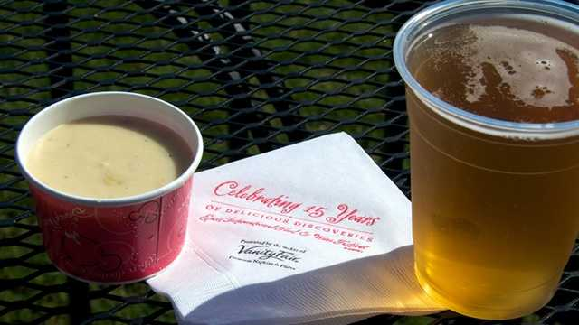 Favorite #1: Canadian Cheddar Cheese Soup, Canada MarketplaceWhile Fall is beautiful in Florida (but really, when isn't it beautiful?), it's no secret that even a nice September or October day can get a little toasty now and then. Festival organizers have told me in years past that sometimes it even surprises them how many park goers will go for a cup of hot soup on a hot day. But that's just because the stuff is just that good. It's available year round inside Le Cellier Steakhouse in the Canada Pavilion, but the creamy, cheesy soup with hints of beer and bacon makes the venture outside during festival time.