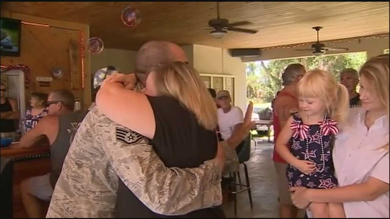 Local veteran returning home surprised with motorcycle parade