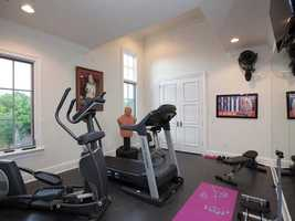 Work out at home in this spacious home gym.