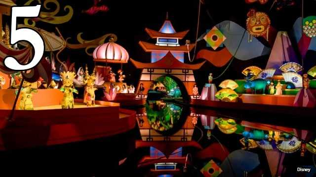 It's A Small World: Some of the wait may be outdoors, but the music boat ride itself is more than 10 minutes and famously features brightly-colored animatronic dolls that symbolize world peace.