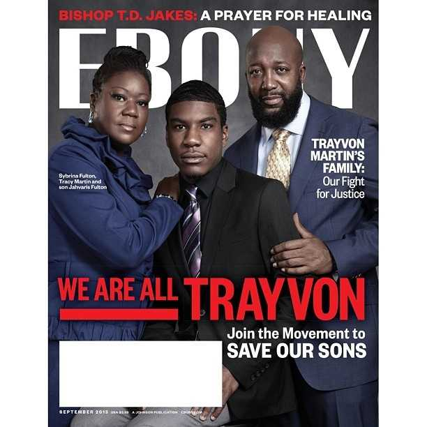 Trayvon Martin's parents and brother on Ebony's cover.