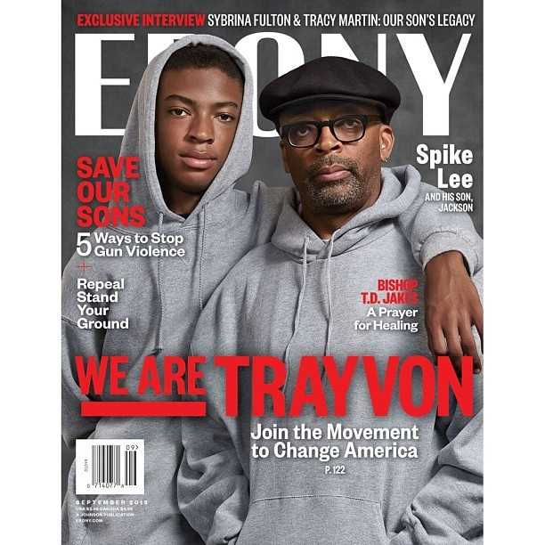 Spike Lee and his son on Ebony's cover.