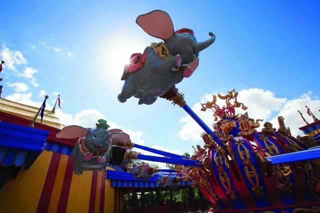 Dumbo, the Flying Elephant: Hop atop Dumbo and take off into the air on a joyful journey amid the jubilant sounds of carnival music. Dumbo the Flying Elephant invites you to accompany everybody's favorite circus elephant as he discovers his unique ability to fly. The classic Dumbo ride has been dramatically transformed, and now it's twice the fun. The new attraction features two sets of rotating elephants, moving in opposite directions as they fly through the air.