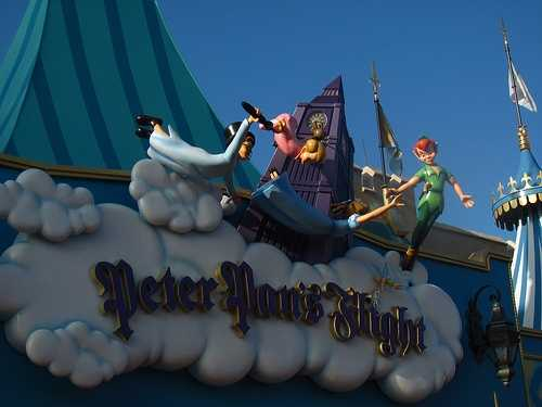 Peter Pan's Flight: Sail high into the moonlit sky with Peter Pan. Board a colorful galleon and, with the help of some pixie dust, embark on a high-flying adventure. Sail through the nighttime sky over London, where famous sites like Big Ben and Tower Bridge mingle with a confection of glittering lights.  Then, descend into Never Land, home to volcanic peaks and sparkling waterfalls.