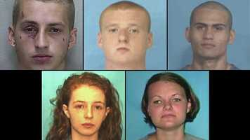April 21, 2011: Investigators with the Marion County Sheriff's Office arrest Michael Bargo, 18 (top left)&#x3B; Kyle Hooper, 16, (top middle)&#x3B; Justin Soto, 20 (top right)&#x3B; Amber E. Wright, 15 (bottom left)&#x3B; and Charlie Ely, 18 (bottom right), and charge them with first-degree murder. Authorities say Jackson was the former boyfriend of Wright and was lured to the home after a text message exchange about rekindling their relationship. They said Bargo was the ringleader and person who shot Jackson.