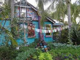 WhimzeyLand, the bowling ball house in Safety Harbor: Using plexiglas sculptures, paintings, bottle trees, recycled material sculptures and bowling balls, the couple who owns the house says it has been a work in progress for over 20 years.
