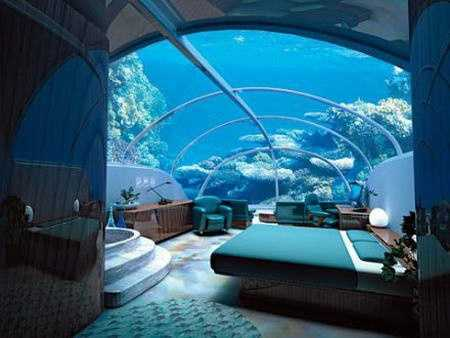 Jules' Undersea Lodge in Key Largo: Jules' Undersea Lodge is located at the bottom (30 feet) of the Emerald Lagoon in Key Largo Undersea Park. It was originally built as La Chalupa mobile undersea laboratory, the largest and most technically advanced in the world. The Lodge has been completely remodeled to provide guests with approximately 600 square feet of luxury living space for up to six people.