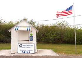 Smallest post office in the United States in Ochopee: The building, once a tool shed for a tomato farm, was converted into the post office after a fire in 1953 destroyed the original Ochopee Post Office located in the Gaunt Company Store.