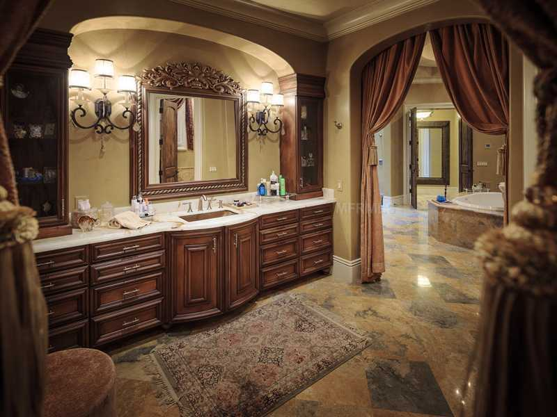 The master suite's bathroom also features a spa tub.