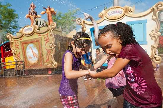 1. Casey Jr.'s Splash N Soak Station at Magic Kingdom Park – Features: Casey Jr. train from Dumbo, squirting elephant trucks, other circus animals