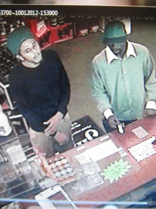 These two men are suspected of robbing the Sharps Liquor store in October 2012. Anyone with information on either of these incidents should contact Detective Gabe Fuentes at 386-586-4802