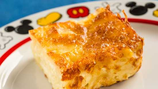 At the Sommerfest quick-service cuisine, nudel gratin is one of the items added to the menu.  It is made with Swiss and cheddar cheeses and a pinch of nutmeg.