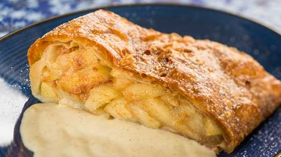 The made-from-scratch apple strudel can also be found at Biergarten.