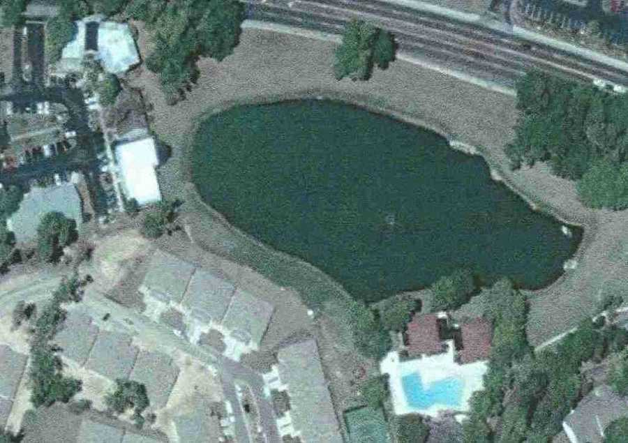 A picture of the pond before the sinkhole.