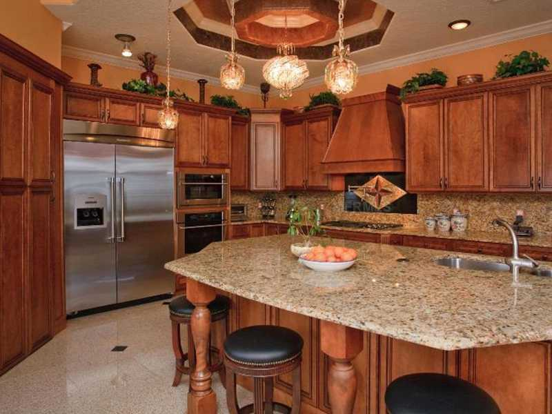 Massive is not an understatement for this beautiful kitchen island, which comfortably sits four or more.