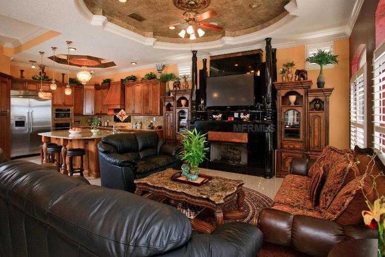 Across from the kitchen is the casual and comfortable family room.