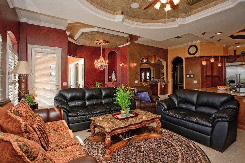This is an alternate view of the family room and kitchen.